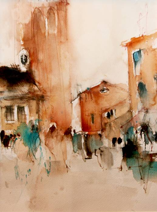 Piazza ~ 22  x 30 cm ~ Aquarell auf 300 gr Aquarellpapier